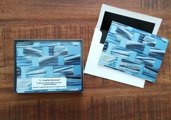 blue and gray contemporary notecards